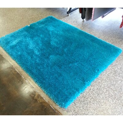 Heineman Solid Shag Hand-Tufted Turquoise Area Rug Rug Size: Rectangle 76 x 103