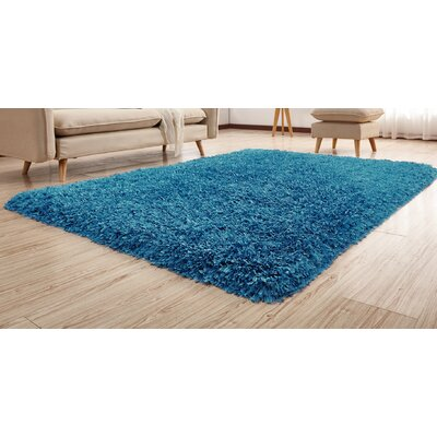 Heineman Solid Shag Hand-Tufted Blue Area Rug Rug Size: Rectangle 5 x 7