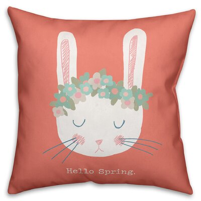 Hartline Cute Floral Crown Spring Bunny Throw Pillow