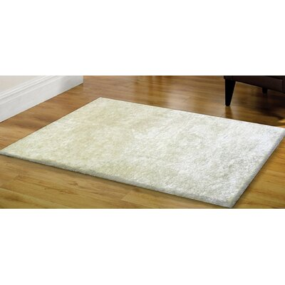 Heineman Solid Shag Hand-Tufted Off-White Area Rug Rug Size: Rectangle 76 x 103