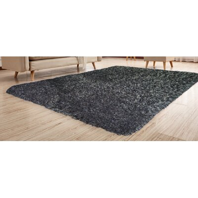 Heineman Solid Shag Hand-Tufted Black Ash Area Rug Rug Size: Rectangle 76 x 103