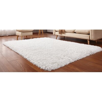 Heineman Solid Shag Hand-Tufted Off-White Area Rug Rug Size: Rectangle 5 x 7