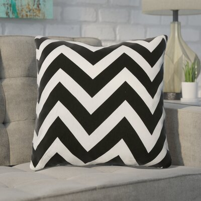 Shreffler Chevron Stripe 100% Cotton Throw Pillow Color: Black