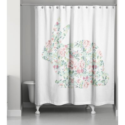 Criswell Floral Tranquil Rabbit Shower Curtain