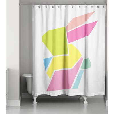 Gammon Geometric Neon Bunny Shower Curtain