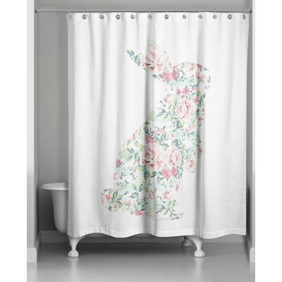 Critchfield Floral Curious Rabbit Shower Curtain