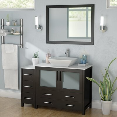 Karson 48 Single Bathroom Vanity Set with Mirror Base Finish: Espresso