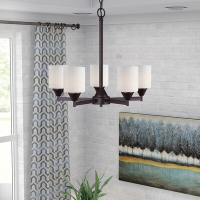 Burchell 5-Light Shaded Chandelier Finish: Antique Bronze