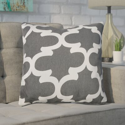 Shreve Trellis 100% Cotton Throw Pillow Color: Charcoal