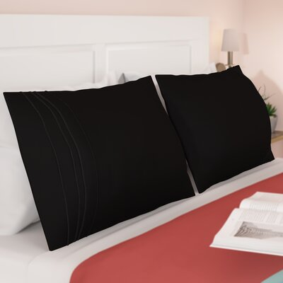 Miloe 3000 Series Solid-3 Line Embroidery Pillowcase Size: Standard, Color: Black