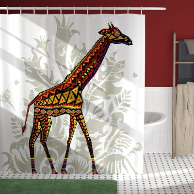 Herlev African Savannah Animal Giraffe With Ethnic Ornament Patterns on Body Creature Print Shower Curtain Size: 69 W x 75 H