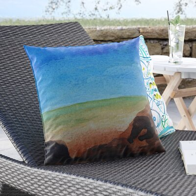 Cyndi Steen Beach Rocks Coastal Outdoor Throw Pillow Size: 18 H x 18 W x 5 D