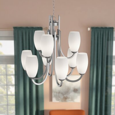 Caves 9-Light Shaded Chandelier Finish: Satin Nickel