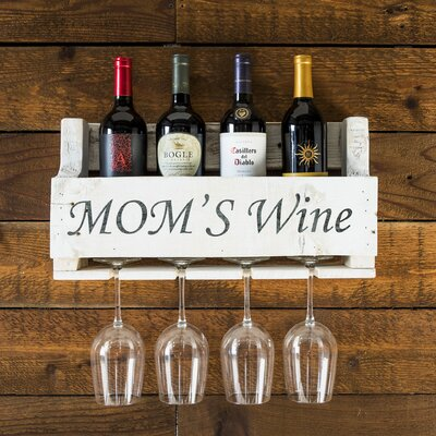 Truluck Moms Wine 4 Bottle Wall Mounted Wine Rack