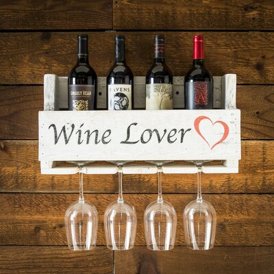 Truluck Wine Lover 4 Bottle Wall Mounted Wine Rack
