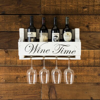 Truluck Wine Time 4 Bottle Wall Mounted Wine Rack
