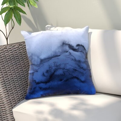 Ebi Emporium Winter Waves Outdoor Throw Pillow Size: 18 H x 18 W x 5 D, Color: Blue/Black