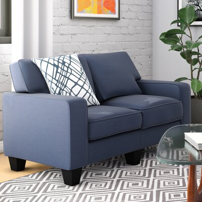 Bittle Modern Living Room Loveseat Upholstery: Blue
