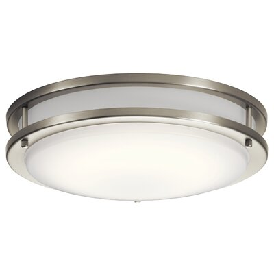Vannote 1-Light LED Flush Mount Fixture Finish: Brushed Nickel, Shade Color: White Acrylic, Size: 3.75 H x 14 W x 3.88 D