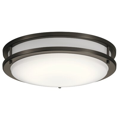 Vannote 1-Light LED Flush Mount Fixture Finish: Olde Bronze, Shade Color: Acrylic Diffuser, Size: 3.75 H x 14 W x 3.88 D