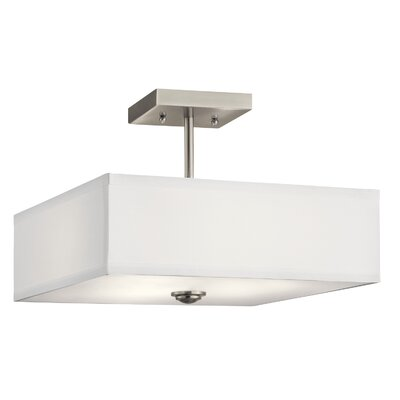 Holloway 3-Light Semi Flush Mount Fixture Finish: Brushed Nickel, Size: 9.75 H x 14 W x 14 D