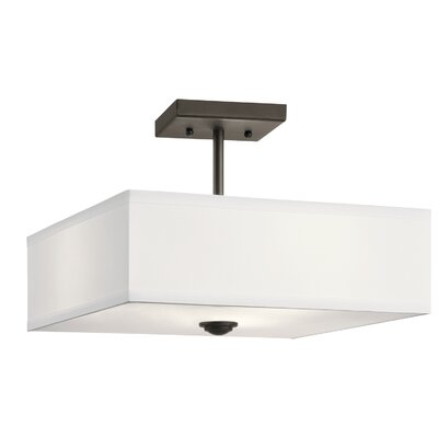 Holloway 3-Light Semi Flush Mount Fixture Finish: Olde Bronze, Size: 9.75 H x 14 W x 14 D