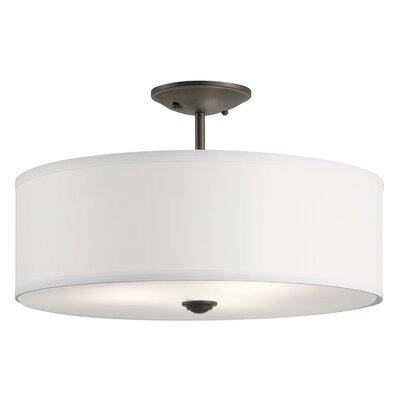 Holloway 3-Light Semi Flush Mount Fixture Finish: Olde Bronze