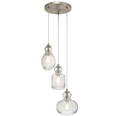 Mcdougal 3-Light Cluster Pendant Fixture Finish: Brushed Nickel