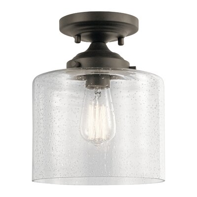 Honea 1-Light Semi Flush Mount Fixture Finish: Olde Bronze