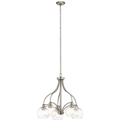 Hoover 5-Light Candle-Style Chandelier Finish: Brushed Nickel