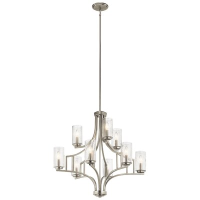 Vannoy 9-Light Candle-Style Chandelier Finish: Brushed Nickel
