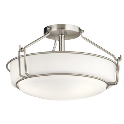 Horan 3-Light Semi Flush Mount Fixture Finish: Brushed Nickel
