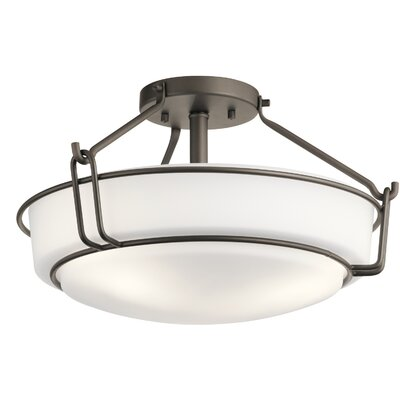 Horan 3-Light Semi Flush Mount Fixture Finish: Olde Bronze