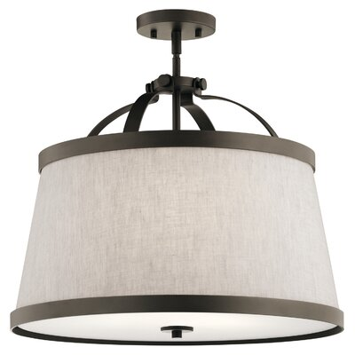 Sachiko 3-Light Drum Pendant Fixture Finish: Olde Bronze
