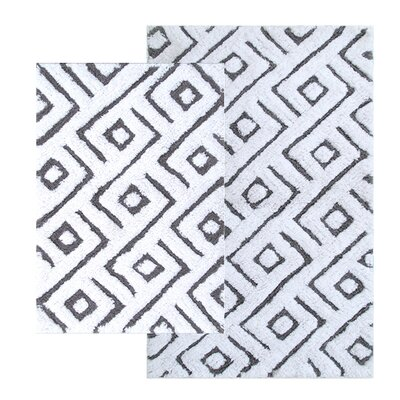 Garton 2 Piece Modern Bath Rug Set Color: Gray