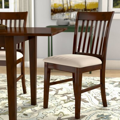 Phoenixville Upholstered Dining Chair (Set of 2) Upholstery Color: Mocha, Finish: Mahogany