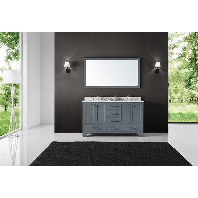 Cassel Double Bathroom Vanity Set with Mirror Base Finish: Cashmere Gray, Size: 34.21 H x 72 W x 22 D