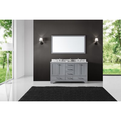 Cassel Double Bathroom Vanity Set with Mirror Base Finish: Taupe Gray, Size: 34.21 H x 60 W x 22 D