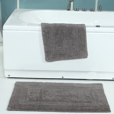 Tressler 2 Piece Reversible Bath Rug Set Color: Gray