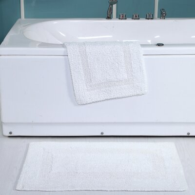 Tressler 2 Piece Reversible Bath Rug Set Color: White