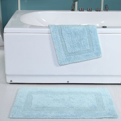 Tressler 2 Piece Reversible Bath Rug Set Color: Blue