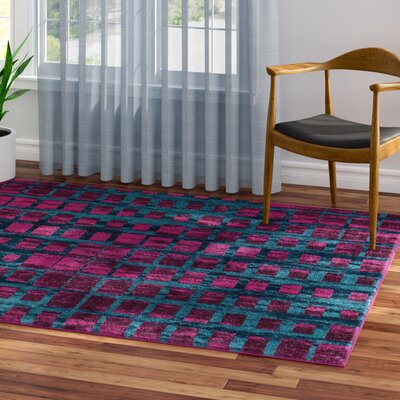 Angie Mid-Century Modern Purple Area Rug Rug Size: 53 x 73