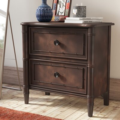 Harrouda 2 Drawer Nightstand Color: Mahogany