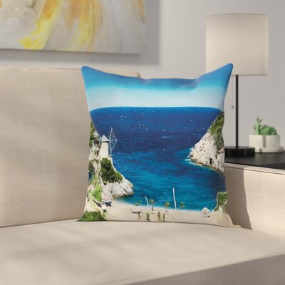 Beach Rocky Sandy Cove Seaside Square Pillow Cover Size: 16 x 16