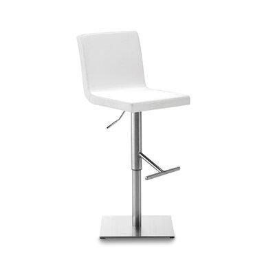 Afro Adjustable Height Swivel Bar Stool Upholstered: White