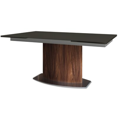 Discovery Extendable Dining Table Base Color: Walnut, Top Color: Black