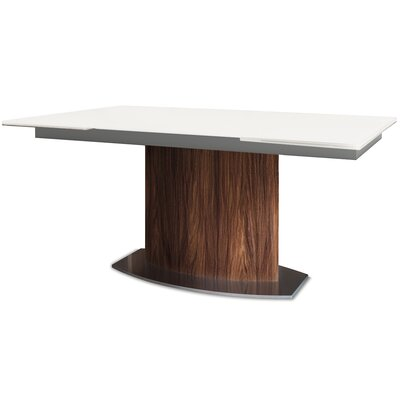 Discovery Extendable Dining Table Base Color: Walnut, Top Color: White