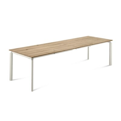 Energy Extendable Dining Table Base Color: Light oak, Top Color: White