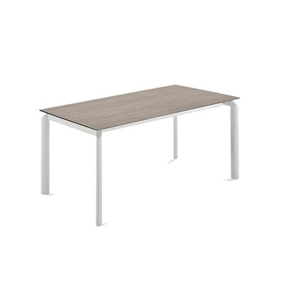 Energy Extendable Dining Table Base Color: White, Top Color: Light Obsidian
