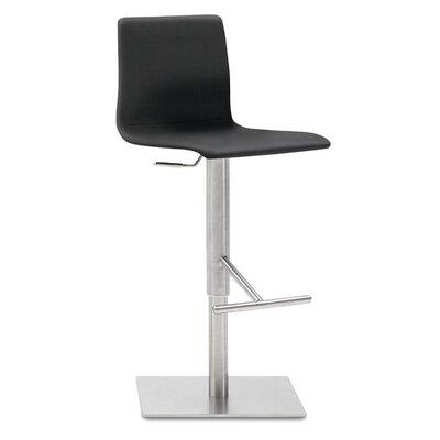 Jude Adjustable Height Swivel Bar Stool Upholstered: Black